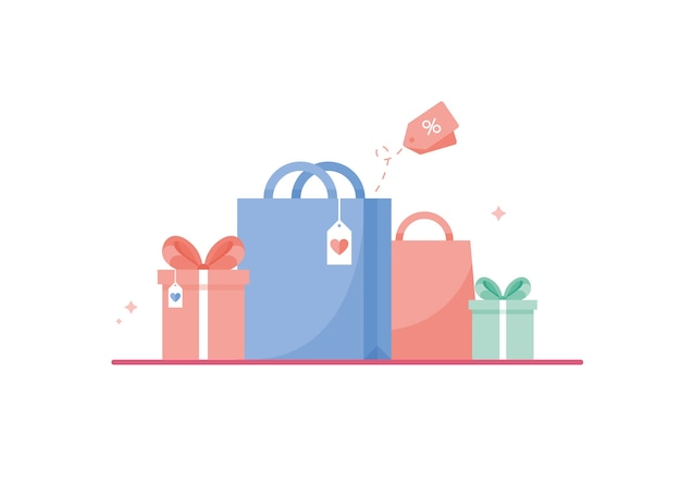 생일, 크리스마스 또는 새해 쇼핑 가방 옆 리본 또는 활 컬러 선물 상자. 핑크, 블루, 그린