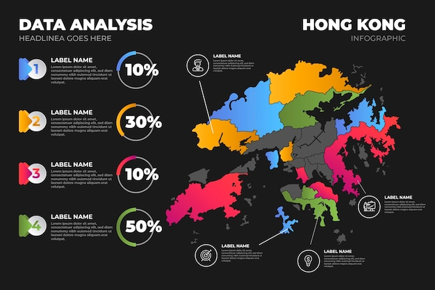 Colored gradient hong kong map infographic