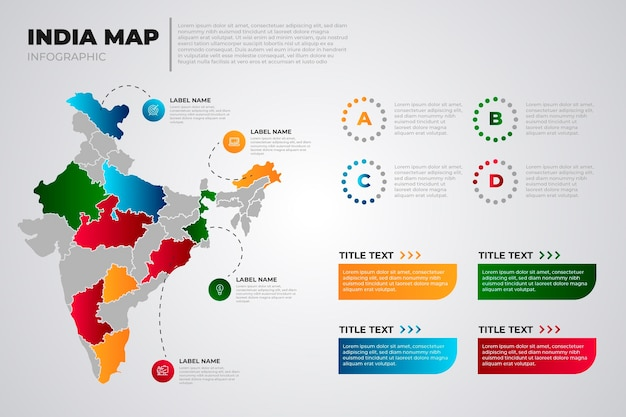Colored gradient india map infographic on light background
