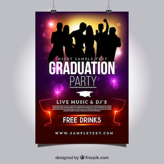 Colored graduation party poster with silhouettes dancing