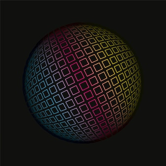 Colored grids spherical 3d background pattern