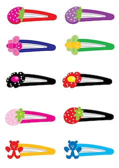 Colored hairpins bulk vector template.