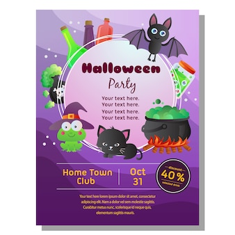 Colored halloween poster with cartoon halloween accesories