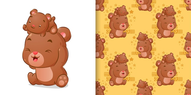 Colored hand drawing of bears playing together in seamless pattern set illustration