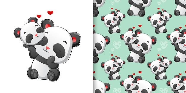Colored hand drawing of cute pandas are playing together pattern set illustration