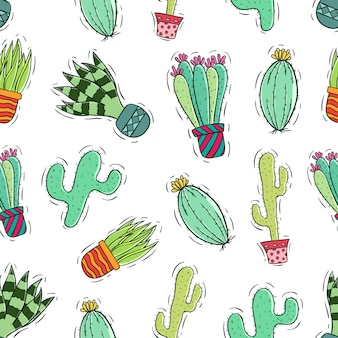 Colored hand drawn or doodle style of cactus in seamless pattern