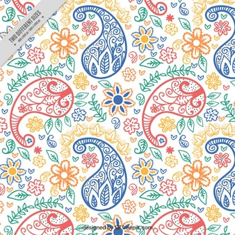 Colored hand drawn paisley background