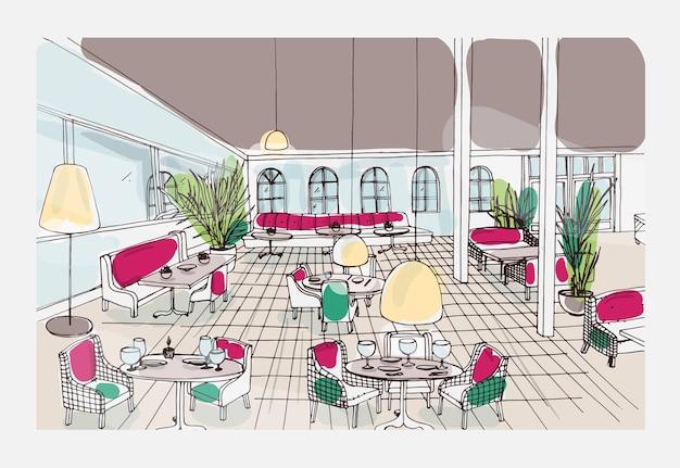 Цветной нарисованный от руки интерьер ресторана или кафе с клетчатым полом и стильной мебелью