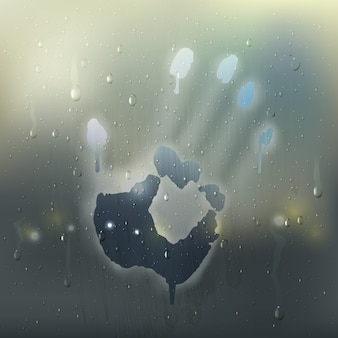 Colored hand on misted glass realistic composition with rain stains and handprint on the window