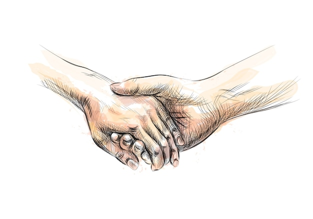 Colored hand sketch holding hands from a splash of watercolor.  illustration of paints