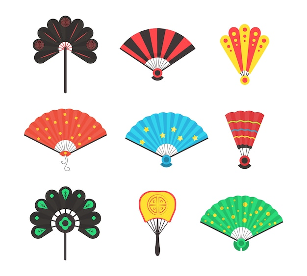 白い背景に分離された着色された手伝統的なファンセット。中国と日本の漫画のスタイルで手ファンを開閉します。