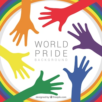 Colored hands of world pride day background