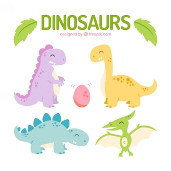 Colored happy dinosaurs set