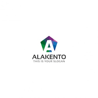 Colored hexagon logo with letter a