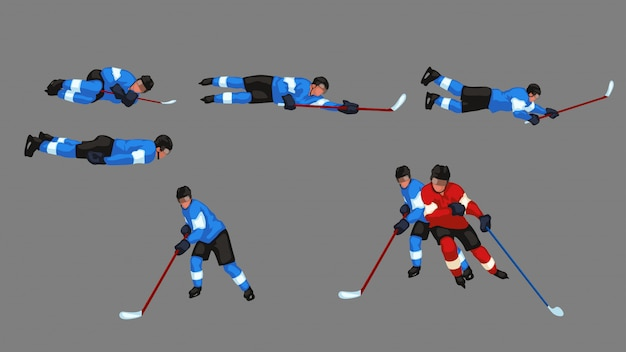 Colored hockey player set
