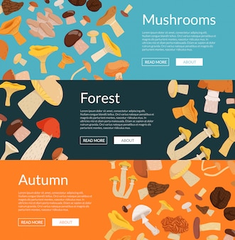 Colored horizontal web banners of set  with cartoon mushrooms