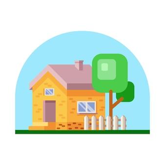 着色された家の外観。図。家のアイコン。白い背景の上の木が付いている家のファサード。
