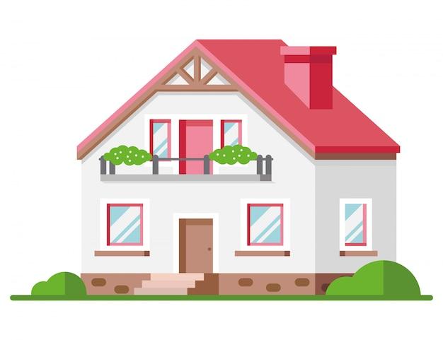 着色された家の外観。ベクトルイラスト。家のアイコン。白い背景の上の家のファサード。
