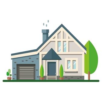 着色された家の外観。ベクトルイラスト。家のアイコン。白い背景の上の木の家のファサード。