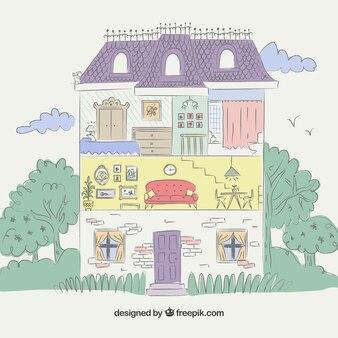 カットされた色の家