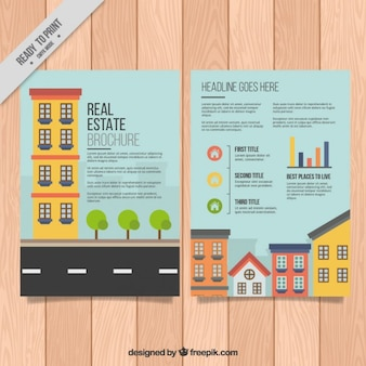 Colored houses real estate brochure
