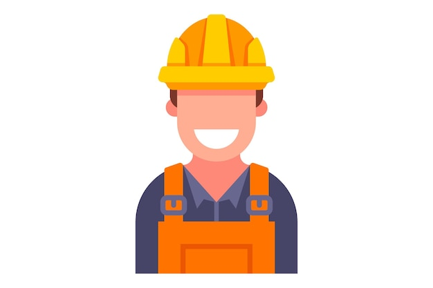 Colored icon of the builder in overalls.