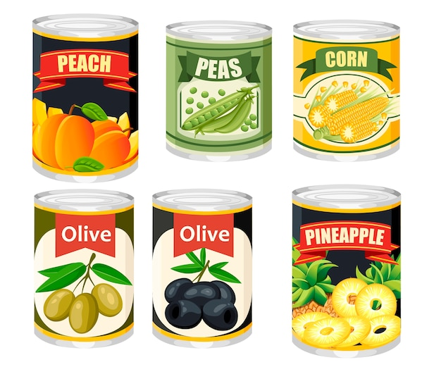 Colored icon collection food in aluminum can. canned fruits and olives. product for supermarket and shop.   illustration  on background.