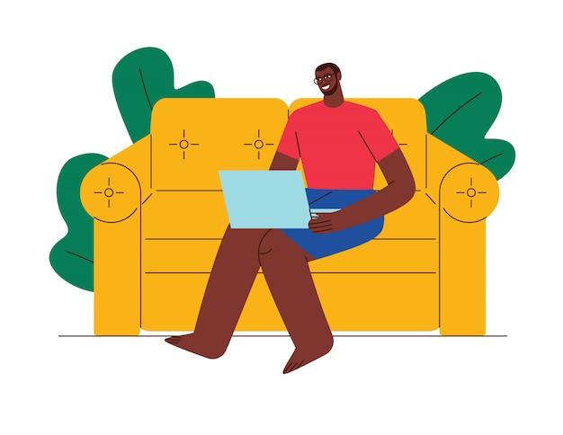 色のイラストフラットスタイル。男は家で働いています。自己分離のアフリカ系アメリカ人の男。検疫で作業します。労働者はラップトップでソファーに自宅で座っています。
