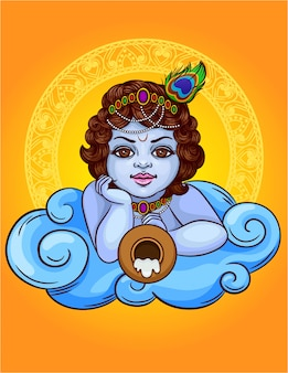 Colored illustration of an indian god krishna lies on a cloud with a pot. the indian deity is krishna little boy. happy janmashtami celebration gift card with ornament frame decorated