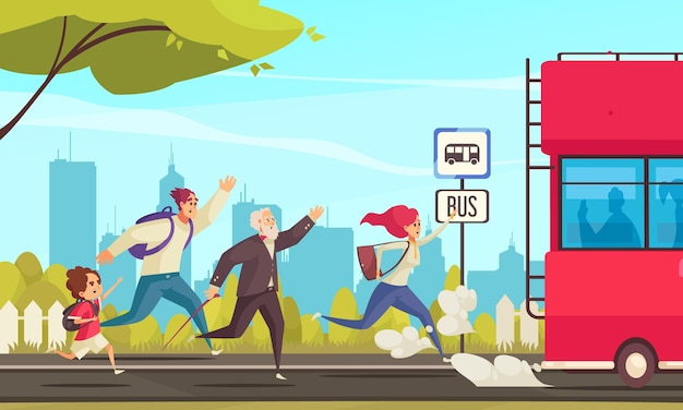 Colored illustration of running people lagging behind the bus at city landscape cartoon