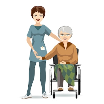 Colored illustration senior woman sitting on wheelchair with caregiver. isolated on white background.