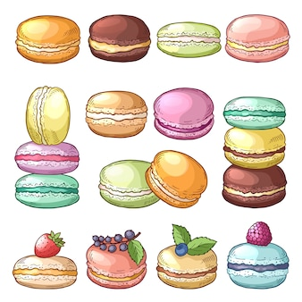 Colored illustrations of delicious macaroons