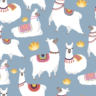 Colored illustrations for textile pattern with illustration of llamas. vector alpaca cute with white wool