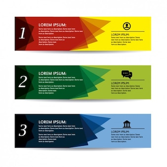 Colored infographic banners template