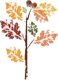 Отпечаток опавшего осеннего листа цветной тушью. акварельный лист. ветка с листьями. иллюстрация к выкройкам, упаковке, одежде. для мебели, обоев и тканей.