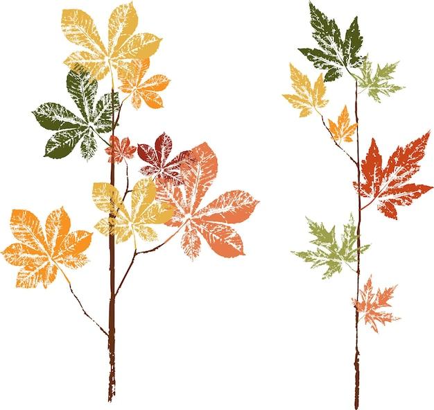 落ち葉のカラーインクプリント。水彩の葉。