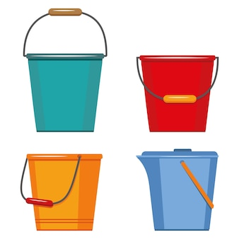 Colored insulated plastic buckets.