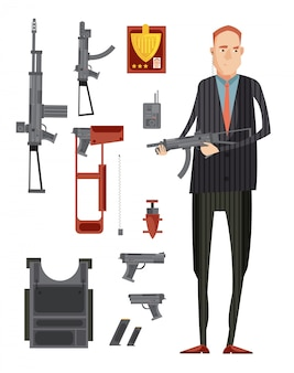 Colored intelligence agency group composition with isolated flat icon set with weapons and man in black vector illustration