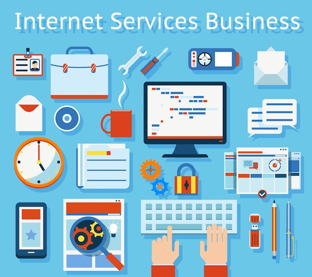水色の背景に色付きインターネットサービスビジネスコンセプト。