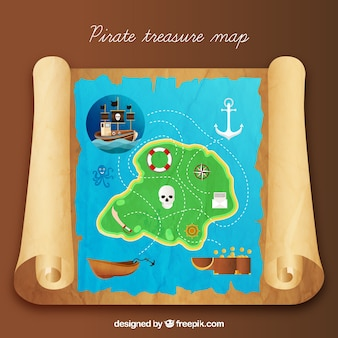 Colored island with pirate treasure