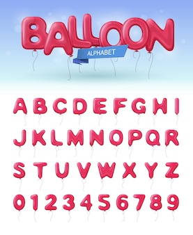 Colored and isolated balloon alphabet realistic icon set with pink abc and numbers balloons