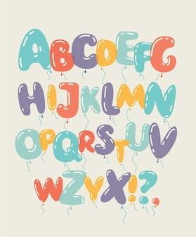 Colored and isolated balloon alphabet