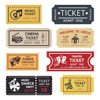Colored and isolated entertainment ticket set with different texts colors sizes and styles vector illustration