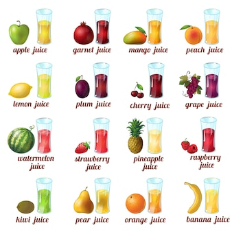 Colored and isolated fruits juice icon set with apple mango peach cherry grape orange banana and different juices