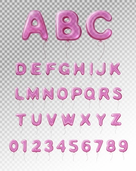 Colored and isolated light purple realistic balloon english alphabet with transparent background