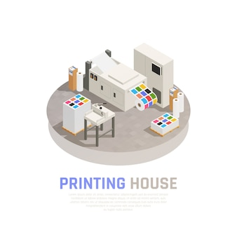 Colored and isolated printing house polygraphy isometric composition with monochrome color printing room vector illustration