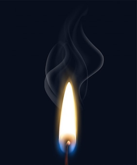 Colored isolated realistic burning flame smoke composition with realistic match flame on black background  illustration