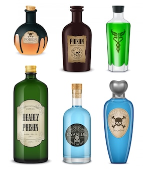 Colored and isolated realistic poison set different shapes colors and styles vector illustration