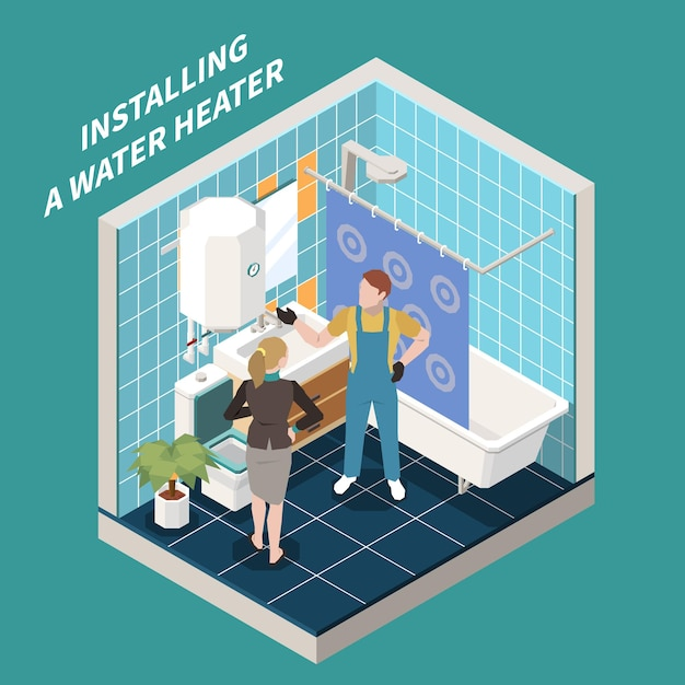 Colored and isometric 3 d plumber composition with installing a water heater description