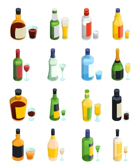 Colored isometric alcohol icon set